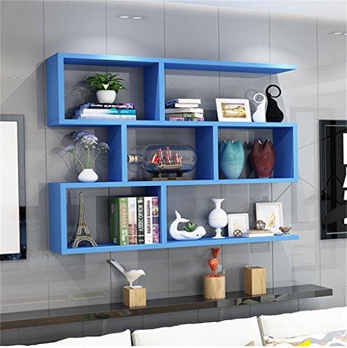 Blaues hölzernes Wand-hängendes Regal für Wohnzimmer-Schlafzimmer als Bücherregal-Lagerregal-Wand-Schrank-Einheit schichtet Wand-Dekorations-Entwurfs-Moderne Art Haltbar (größe : 120cm*20cm)