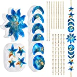 Moon Phase Resin Mould, Sun Mould Star Silicone Mould, Crescent Full Moon Epoxy Moulds with Accessories, Wall Hanging Decoration for Bedroom, Living Room, Apartment or Dorm…