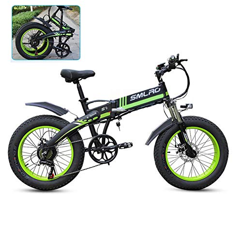 YXYBABA 20 Pulgadas Neumático Gordo Bicicleta Eléctrica 350W 48V Nieve E-Bici Shimano...