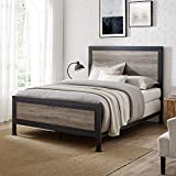 Rustic Queen Industrial Wood and Metal Bed - Includes Head and Footboard