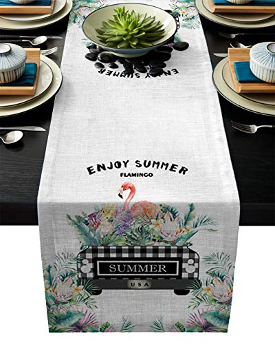 ABCrazy Dining Table Runner 16 x 72inch, Flamingo Protea Flowers Truck Durable Table Covers Decoration for Family Dinner Kitchen Patios Coffee Table Everyday Use Tablecovers Green Summer