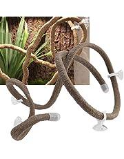 Hffheer Reptile Vines 4.92ft Flexible Artificial Reptile Branch Climbing Branch Terrarium Rattan Reptile Habitat Decor con ventosas para Escalar(L)