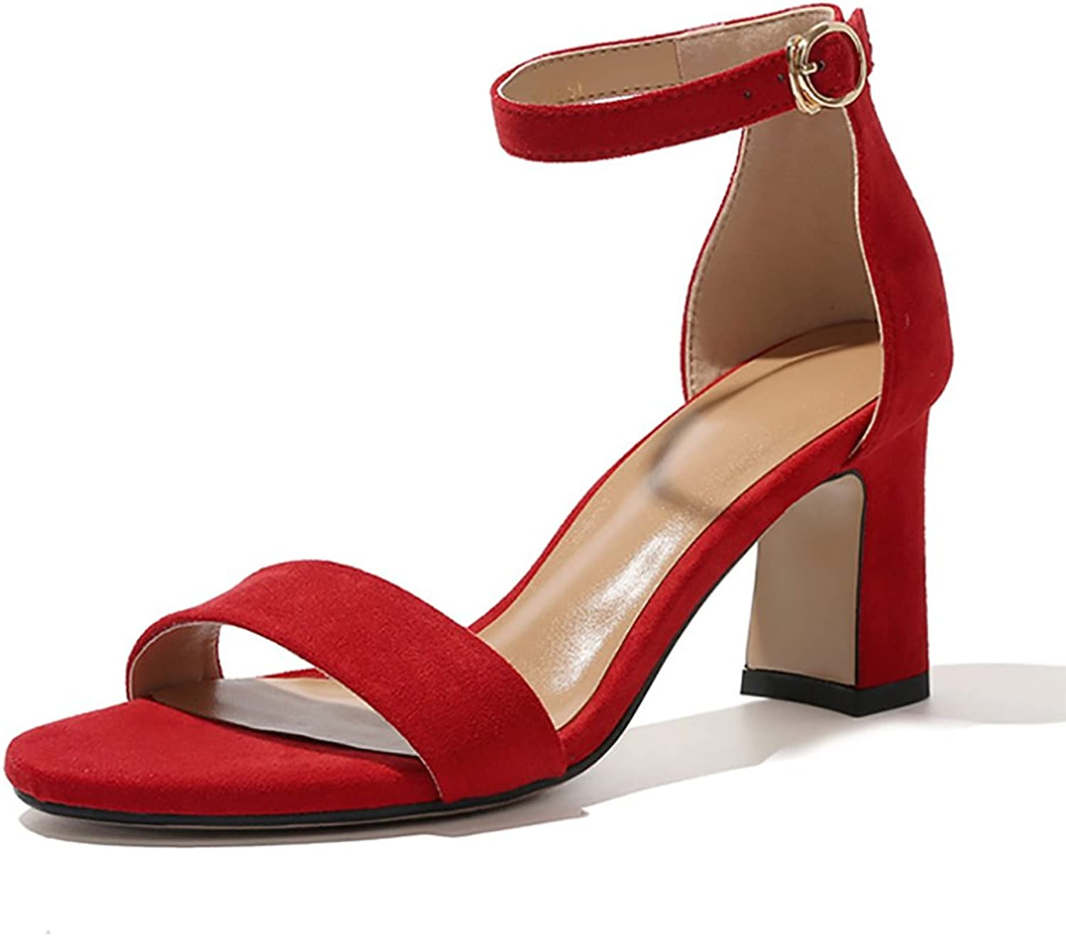 Roman Sandals Women's Summer Sexy Ankle Straps High Heels ( color   Red , Size   36 )