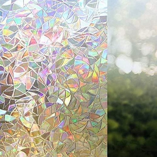 LMKJ 3D Glue-Free Static Decoration Privacy Window Stained Glass Rainbow Film Self-Adhesive Film Anti-Ultraviolet Glass Sticker A83 30x100cm