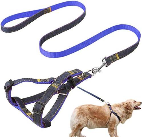 Jecikelon Dog Leash and Harness Set Strong Wearable Denim Sewing Training Dog Leashes Adjustable product image