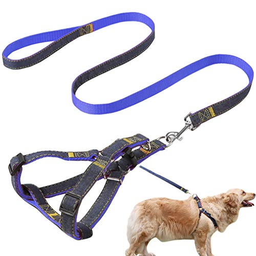 Jecikelon Dog Leash and Harness Set Strong Wearable Denim Sewing Training Dog Leashes Adjustable Strap Dog Harness Gentle Leader for Dogs (Blue2, S)