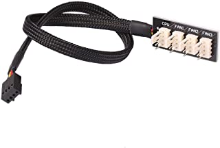 Modtek All Black Sleeved 4 Way PWM Splitter Hub 12V Computer Fans (4 Fan PWM Splitter Cable)