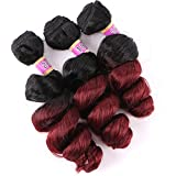 Loose Wave 3 Bundles Synthetic Hair Weave Curly Extensions Two Tone Ombre Color Black To Burgundy 16 18 20 Inches T1/99j