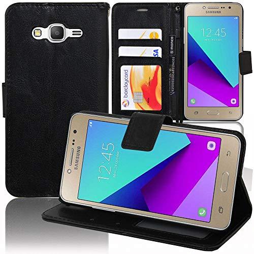 annaPrime Etui Coque Housse pour Samsung Galaxy Grand Prime Plus/Galaxy J2 Prime SM-G532F, Etui Portefeuille Support Video Cuir PU Couleur Noir