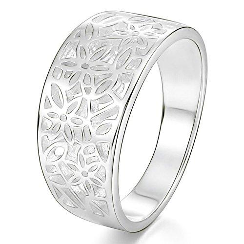 MunkiMix 925 Plata Banda Venda Anillo Ring Flor Flower Patrón Hoja Filigrana Alianzas Boda Talla Tamaño 25 Mujer