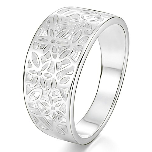 MunkiMix 925 Plata Banda Venda Anillo Ring Flor Flower Patrón Hoja Filigrana Alianzas Boda Talla Tamaño 9 Mujer