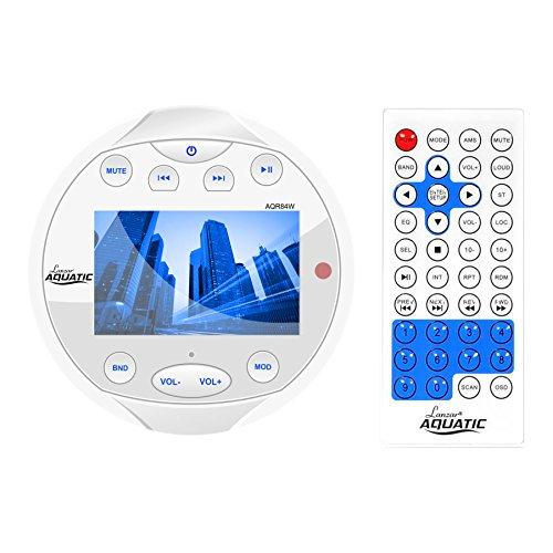 Lanzar Waterproof Marine Stereo Receiver - 4x28 W Round Boat in-Dash Radio Receiver System w/Bluetooth, AM FM, Digital LCD, USB, RCA, AV in -Includes Wiring Harness, Bracket, Remote- AQR84W (White)