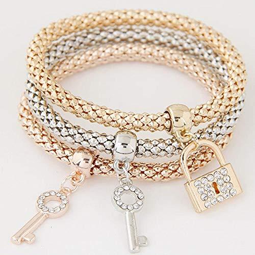 Bracelet Chaîne De Couleur Or Cristal Key Lock Bracelets De Charme Bracelets pour Femmes Fille Meilleur Ami Cadeau Élastique Charm Bijoux