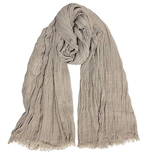 GERINLY Crinkle Male Scarf Cotton Cold Weather Scarf Outdoor Wraps Mens Dress Shawl Western Head Wraps for Travel (Khaki)