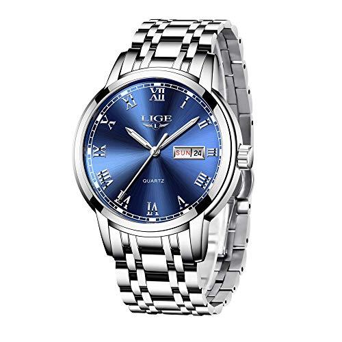 LIGE Relojes Hombre Moda Acero Inoxidable Impermeable Cuarzo Analógico Reloj de a Prueba con Automatico Calendario Reloj de Hombre