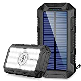 Solar Charger 26800mAh,GRDE Wireless Portable Solar Power Bank Panel Charger with 28 LEDs and 3 USB Output Ports External Backup Battery Huge Capacity Phone Charger for Camping Outdoor for iOS Android