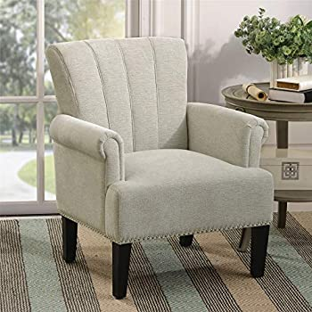 Living Room Chairs Upholstered Chairs Polyester Armchair Club Chair with Rivet Tufted Scroll Arm Tufted Accent Chair for Bedroom and Living Room  Cream