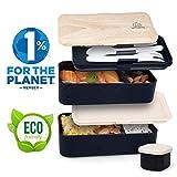 Umami  Lunch Box Noir Bambou | Boîte Bento Japonaise Premium avec 3 Couverts Solides...