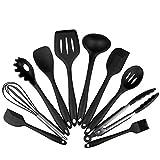 Set di utensili da cucina in silicone da 10 pezzi, senza BPA, Contiene 2 x Spatola Cucchiaio da cucina Mestolo Paletta Spaghetti Spoon Cucchiaio da portata Frusta Tong Pennello (10 pc Nero)