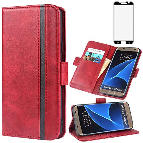 Phone Case For Samsung Galaxy S7 Edge Leather Wallet Cases with Tempered Glass Screen Protector Accessories Card Holder Full Body Flip Folio Cover Glaxay S7edge S 7 Plus GS7 7s 7edge Women Girls Red