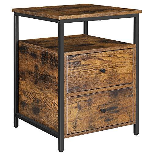 VASAGLE Nachttisch, Beistelltisch, 45 x 45 x 60 cm, Nachtschrank mit 2 Schubladen und offenem Fach, für Schlafzimmer, Wohnzimmer, vintagebraun-schwarz LET067B01