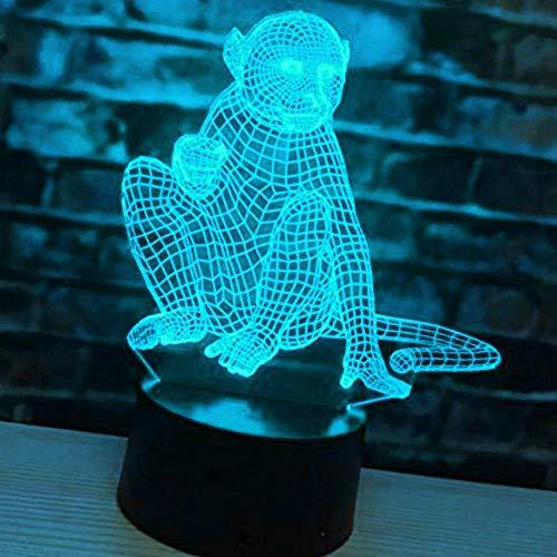 3D Affe Tier Optische Illusions-Lampen, Tolle 7 Farbwechsel Acryl berühren Tabelle Schreibtisch-Nachtlicht mit USB-Kabel für Kinder Schlafzimmer Geburtstagsgeschenke Geschenk