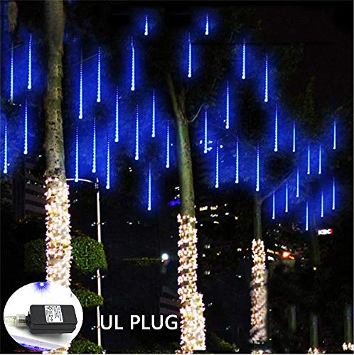 Weepong Falling Rain Lights UL Certified Meteor Shower Lights 30cm 8 Tubes 144 LED Rain Drop Lights Snow Falling Lights Cascading Icicle String Lights for Christmas Halloween Tree Garden Outdoor Blue