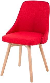 Silla FANGQIAO Shop Comedor de Tela Moderna. Diseño Azul/Madera. Desmontable. Alfombra Antideslizante, Sala, Comedor, Hotel, Cocina. Silla-11.13 (Color : Red)