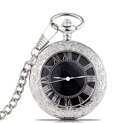 Reloj de Bolsillo Reloj de bolsillo del collar del reloj Negro de plata tallado tirón reloj de bolsillo mecánico retro del reloj de bolsillo del Estudiante Escala romana regalo mecánico del reloj de c