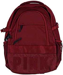 Victoria's Secret Pink Collegiate Backpack Burgundy Ruby Dark Red School Book Bag