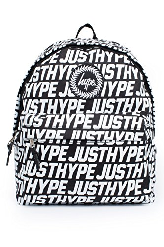 Hype Hombre Mochila deportiva Justhype All Over Logo, Negro, One Size