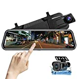 Upgraded 10'' Mirror Dash Cam Night Vision Backup Camera Front and Rear 1080P FHD Full Touch Screen Car Recorder with Loop Recording, Streaming Media, G-Sensor, Parking Monitor 170° Wide Angle