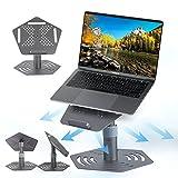 KERMEO Soporte Portatil, Base Portatil de Aaleación de Aluminio de Aaviación, Plegable Ventilado Portatil Laptop Stand para 10-17 Pulgadas MacBook Air, Lenovo, DELL, Toshiba, Samsung Laptop