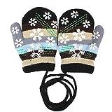EROSPA® Baby Winter-Handschuhe Fäustlinge Fausthandschuh Fäustel Mädchen Jungen Schneeflocke 4 Farben (Schwarz)