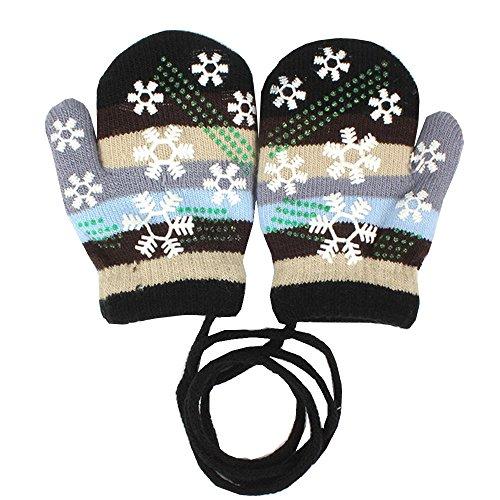 EROSPA EROSPA® Baby Winter-Handschuhe Fäustlinge Fausthandschuh Fäustel Mädchen Jungen Schneeflocke 4 Farben (Schwarz)