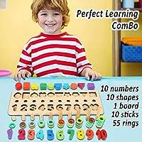 Afufu Giochi Bambini 3+ Anni, Giocattoli Educativi Montessori da Puzzle in Legno, Anelli impilabili per Imparare la Matematica Contare e Imparare i Colori, Giochi Educativo Set Regalo per 3 4 5 Anni #2