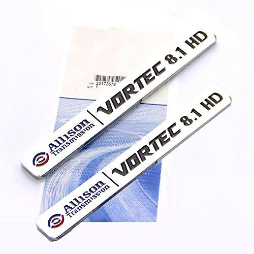 2x Allison Transmission 8.1 Hd 8.1L Vortec Emblem Sticke decals Badge Black Red