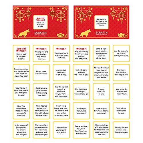 Chinese New Year - 2021 Year of the Ox Party Scratch Off Fortune Cards - 30 Count-Chinese Style Scratch Off Fortune Cards -