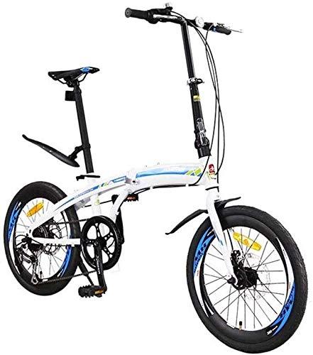 QUETAZHI 7-Gang-Faltrad 20-Zoll-High-Carbon Stahlrahmen, Doppelscheibe und Doppelfederung Neutral Fahrrad-Reifen-Spoke 36, Dunkelgrün/Weiß/Blau QU604 (Color : White Blue)