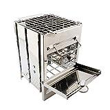 LBSX Plegable de Acero Inoxidable Parrilla de la Barbacoa, portátil Estufa de Camping Campamento Estufa de leña Estufa BBBQ de Picnic Plegable Square Grill Mini Estufa de carbón