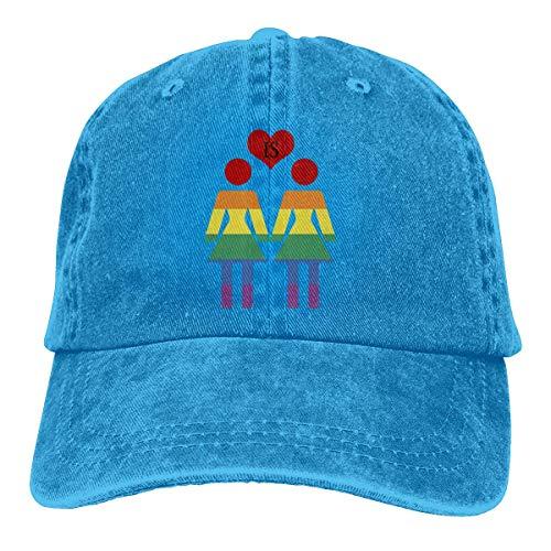 NOBRAND Secado Rápido Dad Hat,Transpirable Ocio Sombrero,Cómoda Sombrero De Deporte,Love Is Love Gay & Lesbian Pride Hombres O Mujeres Negros Pantalones Vaqueros Ajustables Gorras De Béisbol