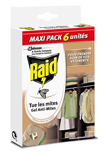 Raid Gel Anti-Mites, Senteur Bois de Cèdre, Maxi Pack 6 unites