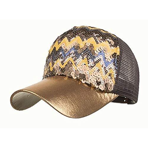 MMD-women's hat Mode Schatten im Freien Baseballmütze Männer und Frauen Frühling und Sommer Neue Art Modelle 6 Farbe Pailletten Welle Netto-Hut weich (Color : Champagne Color, Size : 54-62cm)