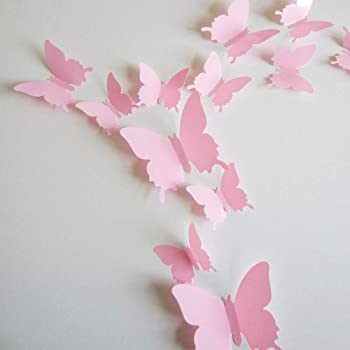 24pcs 3D Butterfly Removable Mural Stickers Wall Stickers Decal for Home and Room Decoration (Pink)