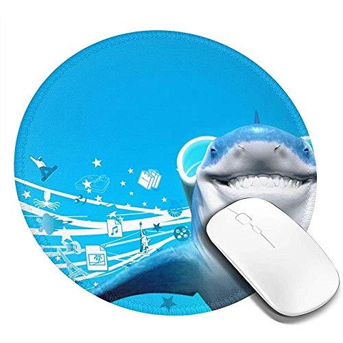 Wasbare ronde muismat - Printing Gaming Mousepad met Cool Shark Blue- Antislip Rubber muismat