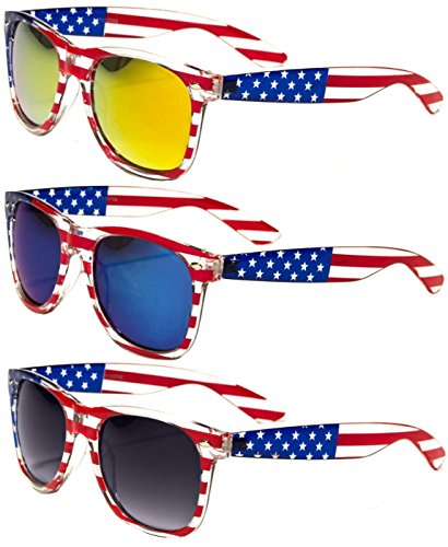 Classic American Patriot Flag Style Sunglasses USA (all 3 pairs)
