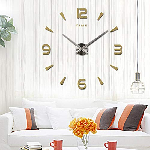 YHYMY Große Wanduhr Quarz 3D DIY große dekorative Küchenuhren Acryl Spiegel Aufkleber Übergröße Wanduhr Home Letter Home Decor