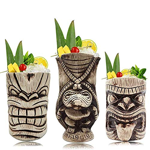 3-teiliges Set Hawaii-Bar Cocktail Keramik Tiki Becher Party Bär Wein Tiki Glas Kaffeetasse Fruchtsaft Eis Becher Strand Sommer Home Party Bar