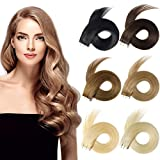 Yamel Tape In Hair Extensions Human Hair Light Brown Hair Extensions 18 Inch 20pcs Tape In Human Hair Extensions