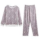 パジャマ レディース 上下セット フリース 長袖 ルームウェア ふんわり Tシャツ ロングパンツ 2点セット プリント ホームウェア 肌触り良い 柔らか 可愛い ゆったり 部屋着 寝間着 あったか 春 秋 冬用 Buzzfashion Pyjamas Set